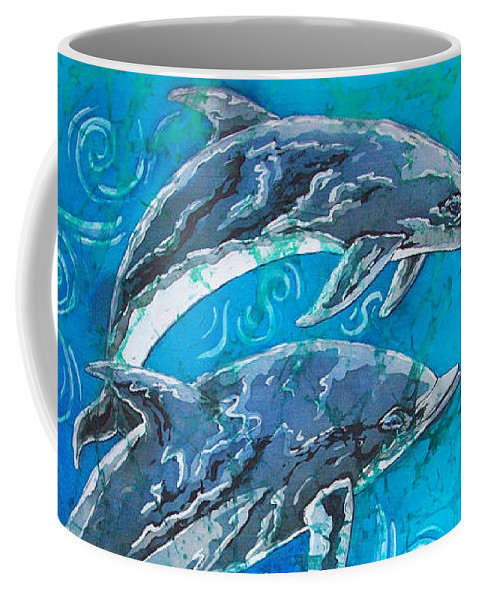 Porpoise Coffee Mug featuring the painting Porpoise Pair by Sue Duda