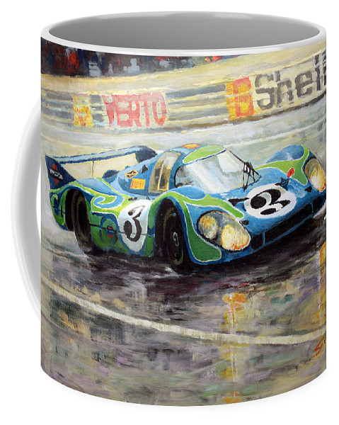 Acrilic On Canvas Coffee Mug featuring the painting Porsche Psychedelic 917lh 1970 Le Mans 24 by Yuriy Shevchuk
