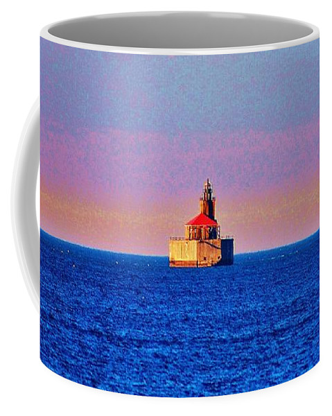 Lighthouse Coffee Mug featuring the photograph Port Austin Reef Light by Daniel Thompson