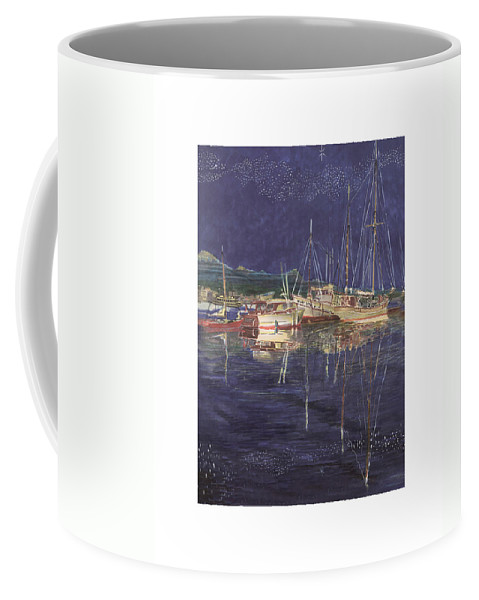 I Just Ordered A Shower Curtain For Myself With This Image On It Coffee Mug featuring the painting Stary Port Orchard Night by Jack Pumphrey