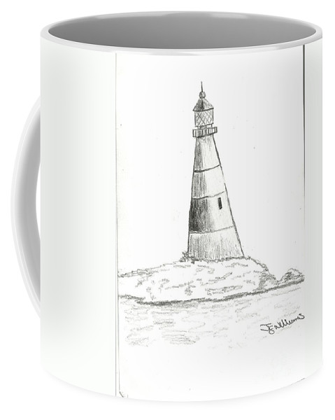 Portland Bill Coffee Mug featuring the drawing Portland Bill by John Williams