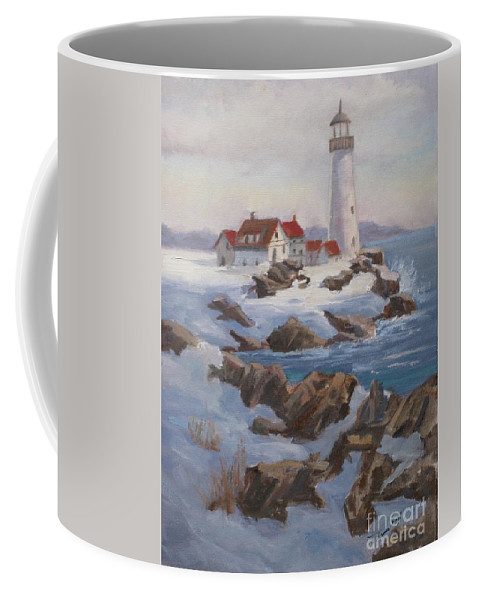 Coffee Mug featuring the painting Portland Head Lighthouse by Mohamed Hirji