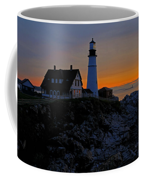 Cape Elizabeth Coffee Mug featuring the photograph Portland Head Lighthouse Sunrise 2 by Liz Mackney