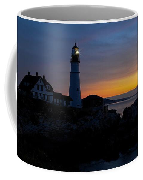 Lighthouse Coffee Mug featuring the photograph Portland Head Lighthouse Sunrise by Liz Mackney