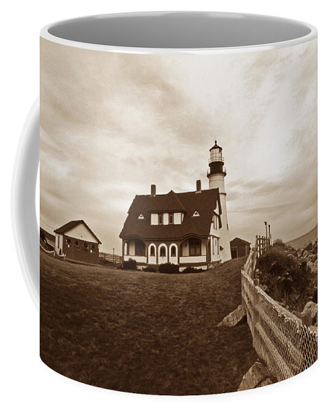 Lighthouses Coffee Mug featuring the photograph Portland Head Sepia Tone by Skip Willits