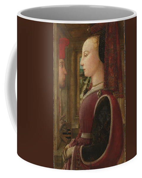 Fra Filippo Lippi Coffee Mug featuring the painting Portrait Of A Woman With A Man At A Casement by Fra Filippo Lippi