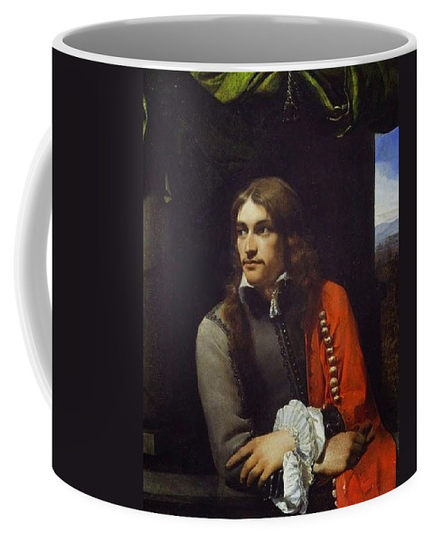 Michiel Sweerts - Portrait Of A Young Man 1656-58 Coffee Mug featuring the painting Portrait Of A Young Man by MotionAge Designs