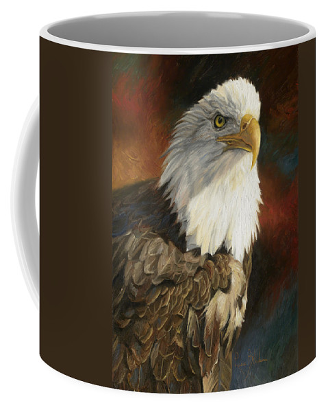 Bald Eagle Coffee Mug featuring the painting Portrait Of An Eagle by Lucie Bilodeau