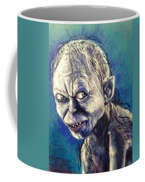 Gollum Coffee Mug featuring the pastel Portrait Of Gollum by Alban Dizdari