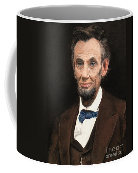 Abe Lincoln Coffee Mug featuring the painting Portrait Of Lincoln by Janet Poirier