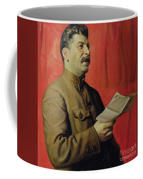 Portrait; Joseph; Male; Dictator; Socialist; Communist; Communism; Moustache; Speaking; Orator; Oratory; Reading; Red; Statement; Despot Coffee Mug featuring the painting Portrait Of Stalin by Isaak Israilevich Brodsky
