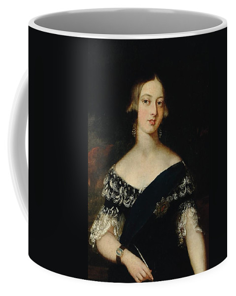 Queen Coffee Mug featuring the painting Portrait Of The Young Queen Victoria by English School