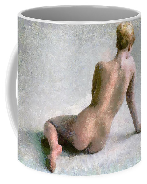 Nude Coffee Mug featuring the mixed media Posing by Dragica Micki Fortuna