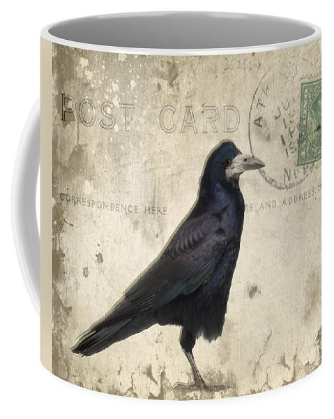 Raven Coffee Mug featuring the photograph Post Card Nevermore by Edward Fielding