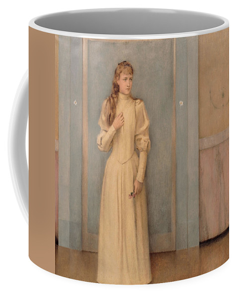 Fernand Coffee Mug featuring the painting Posthumous Portrait Of Marguerite Landuyt by Fernand Khnopff
