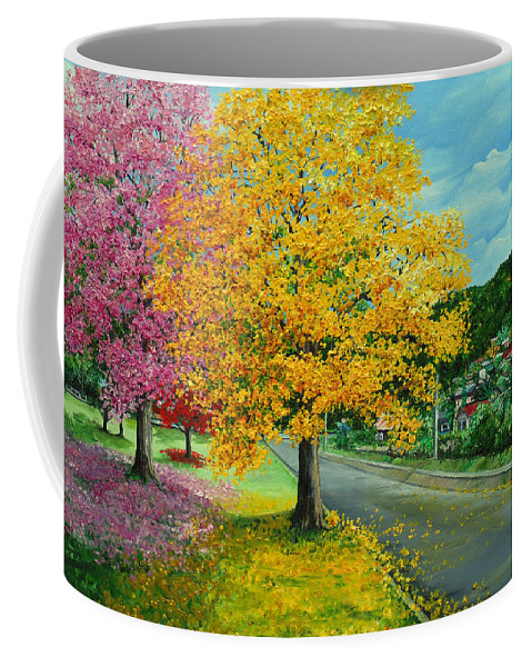 Poui Trees Coffee Mug featuring the painting Poui In Diego by Karin Dawn Kelshall- Best