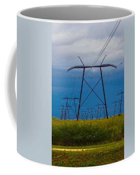 Bluish Sky Coffee Mug featuring the photograph Power Towers by Ed Gleichman
