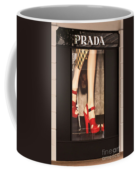 Prada Coffee Mug featuring the photograph Prada Red Shoes by Rick Piper Photography