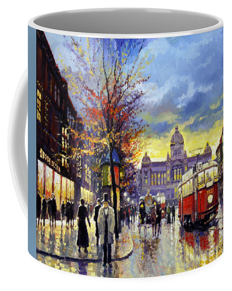 Oil On Canvas Coffee Mug featuring the painting Prague Vaclav Square Old Tram Imitation By Cortez by Yuriy Shevchuk