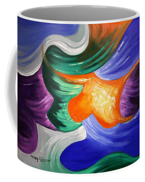 Abstract Coffee Mug featuring the painting Praise The Lord by Anthony Falbo