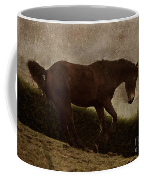 Prancing Horse Coffee Mug featuring the photograph Prancing Horse by Angel Ciesniarska