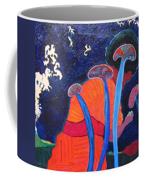 Blue Coffee Mug featuring the painting Prayers Of Peace by Catherine Helmick