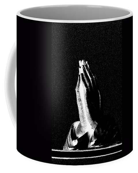 Vertical Coffee Mug featuring the photograph Praying Hands Black And White Glow by Sally Rockefeller