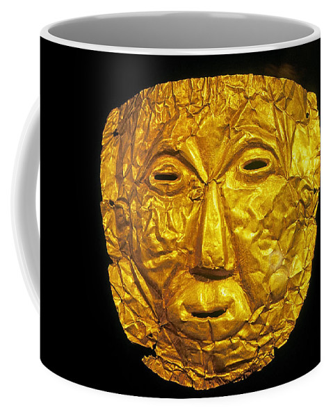 Prehistoric Coffee Mug featuring the photograph Pre-inca Gold Mask by Buddy Mays