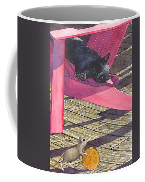 Cat Coffee Mug featuring the painting Precarious by Catherine G McElroy