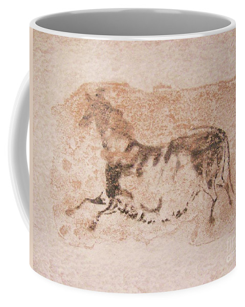 Original Coffee Mug featuring the painting Prehistoric Horse by Roberto Prusso