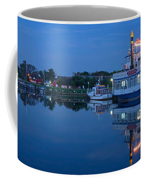 Ostsee Coffee Mug featuring the pyrography Prerow Hafen by Steffen Gierok