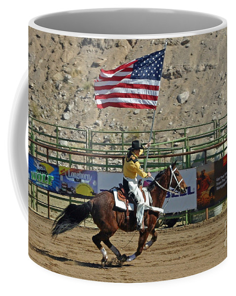 Rodeo Coffee Mug featuring the photograph Presenting The Colors by Bob Hislop