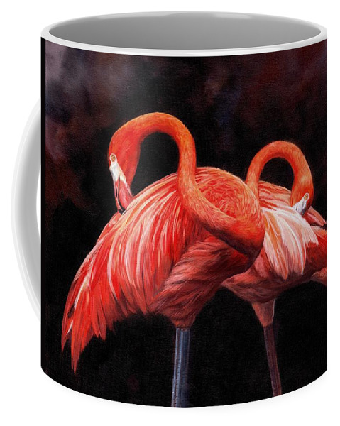 Birds Coffee Mug featuring the painting Pretty In Pink by David Stribbling