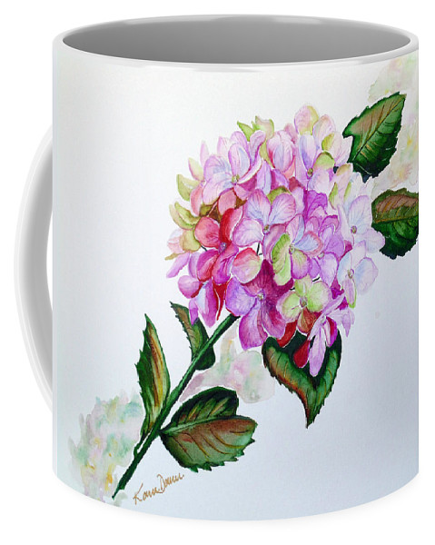 Hydrangea Painting Floral Painting Flower Pink Hydrangea Painting Botanical Painting Flower Painting Botanical Painting Greeting Card Painting Painting Coffee Mug featuring the painting Pretty In Pink by Karin Dawn Kelshall- Best