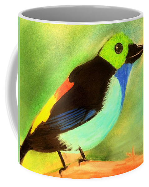 Bird Coffee Mug featuring the pastel Pretty Paradise Tanager by Renee Michelle Wenker