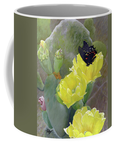 Cactus Coffee Mug featuring the painting Prickly Pear Flower by Adam Johnson