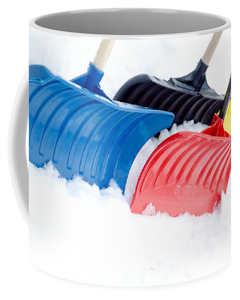 Primary Coffee Mug featuring the painting Primary Shovels by Laurel Best
