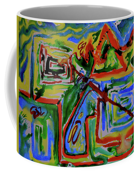 Primary Coffee Mug featuring the painting Primary Study I The Map by Beverley Harper Tinsley