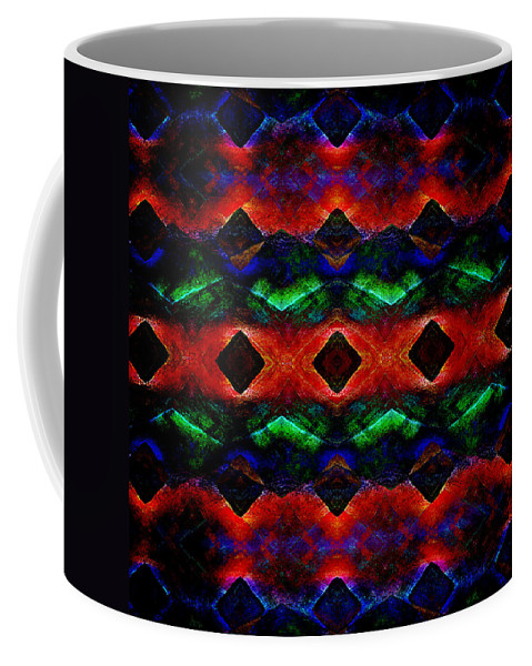 Abstract Coffee Mug featuring the digital art Primitive Textured Shapes by Phil Perkins