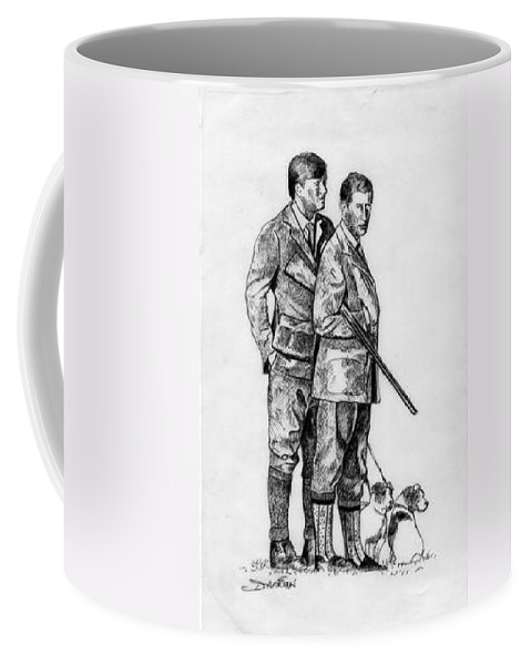 Coffee Mug featuring the drawing Prince Charles Hunting by Jude Darrien