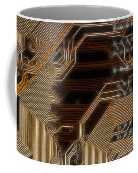 Technology Coffee Mug featuring the digital art Printed Curcuit by Michal Boubin