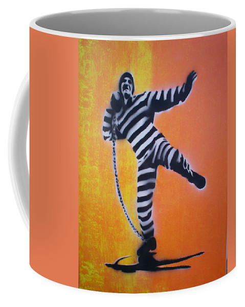 Shotput Coffee Mug featuring the painting Prisoner Shotput by Gary Hogben