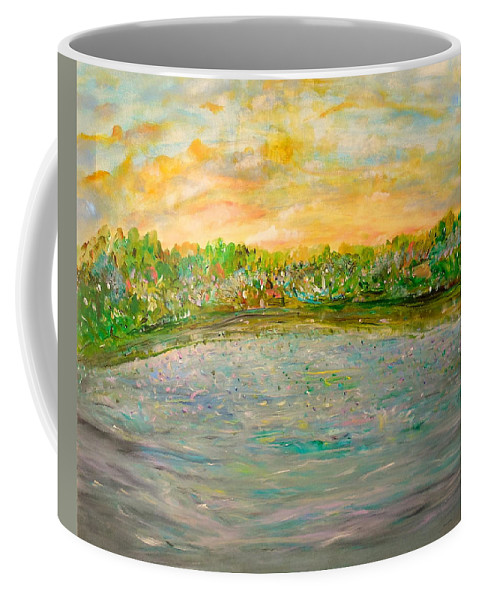 Whimsical Landscape Coffee Mug featuring the painting Confetti Dreams by Sara Credito