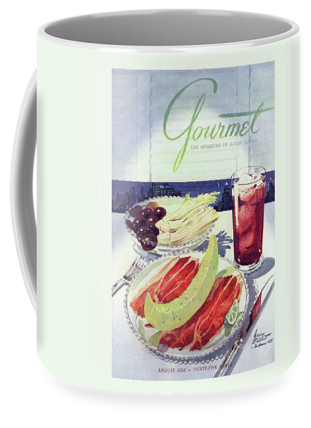 Food Coffee Mug featuring the photograph Prosciutto, Melon, Olives, Celery And A Glass by Henry Stahlhut