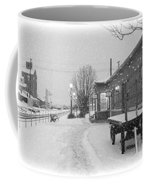 Winter Coffee Mug featuring the photograph Prosser Winter Train Station by Carol Groenen