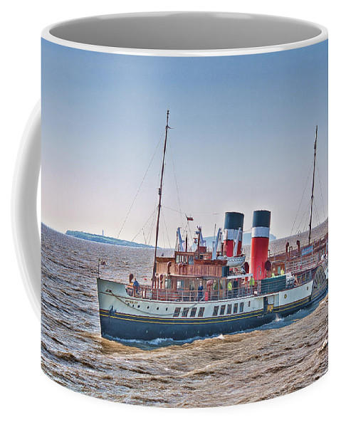The Waverley Paddle Steamer Coffee Mug featuring the photograph Ps Waverley Approaching Penarth by Steve Purnell