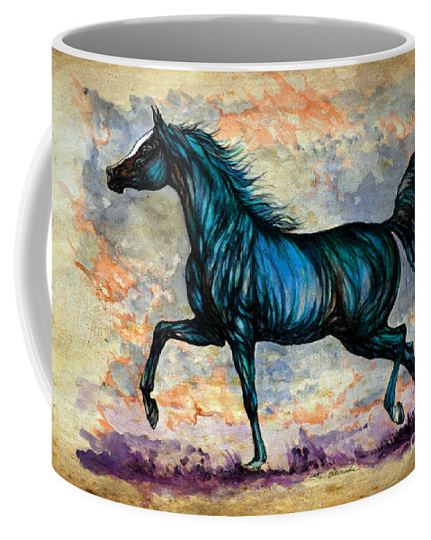 Horse Coffee Mug featuring the painting Psychedelic Blue by Angel Ciesniarska