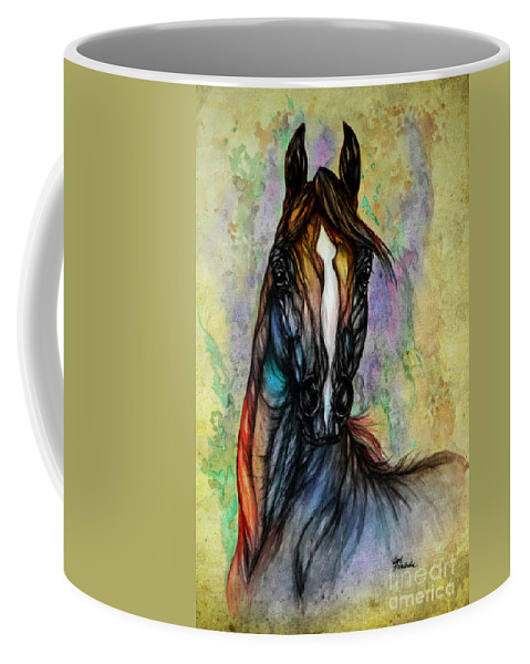 Horse Coffee Mug featuring the painting Psychedelic Brown And Blue by Angel Ciesniarska