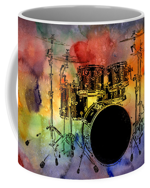 Drums Coffee Mug featuring the photograph Psychedelic Drum Set by Athena Mckinzie