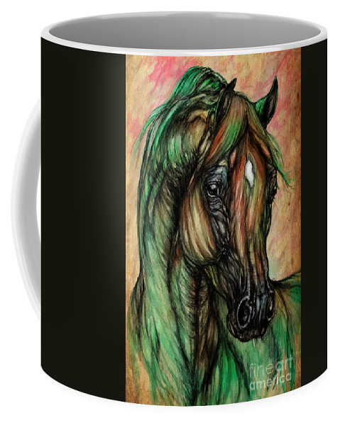 Horse Coffee Mug featuring the painting Psychedelic Green And Pink by Angel Ciesniarska